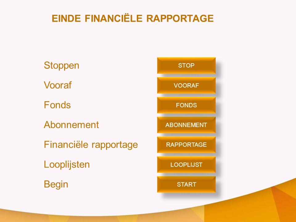 Stoppen Vooraf Fonds Abonnement Financiële rapportage Looplijsten Begin STOP VOORAF ABONNEMENT START FONDS RAPPORTAGE LOOPLIJST EINDE FINANCIËLE RAPPORTAGE