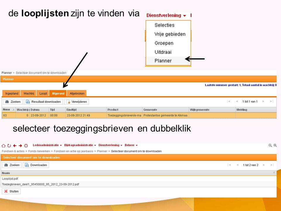 de looplijsten zijn te vinden via selecteer toezeggingsbrieven en dubbelklik