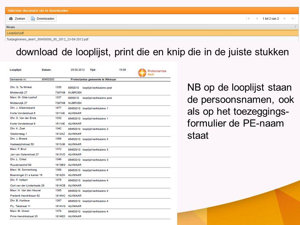 download de looplijst, print die en knip die in de juiste stukken NB op de looplijst staan de persoonsnamen, ook als op het toezeggings- formulier de PE-naam staat