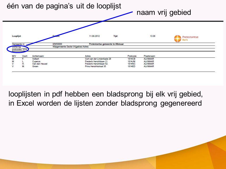 looplijsten in pdf hebben een bladsprong bij elk vrij gebied, in Excel worden de lijsten zonder bladsprong gegenereerd één van de pagina's uit de looplijst naam vrij gebied