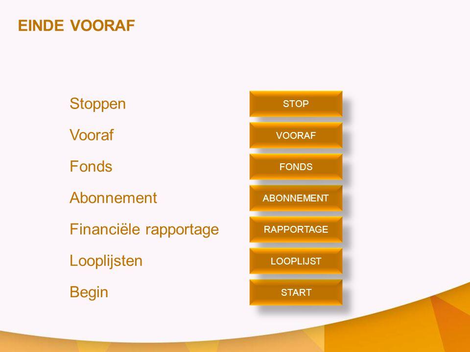 EINDE VOORAF Stoppen Vooraf Fonds Abonnement Financiële rapportage Looplijsten Begin STOP VOORAF ABONNEMENT START FONDS RAPPORTAGE LOOPLIJST