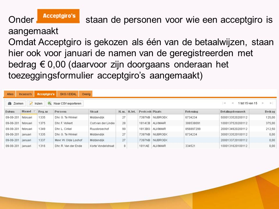 Onder staan de personen voor wie een acceptgiro is aangemaakt Omdat Acceptgiro is gekozen als één van de betaalwijzen, staan hier ook voor januari de namen van de geregistreerden met bedrag € 0,00 (daarvoor zijn doorgaans onderaan het toezeggingsformulier acceptgiro's aangemaakt)