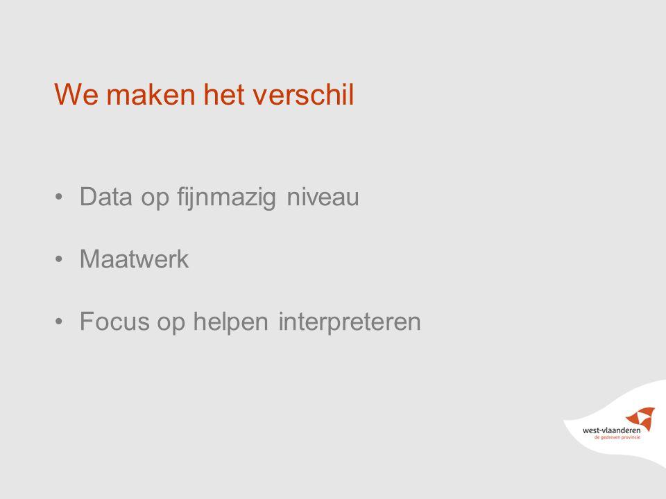 6 We maken het verschil Data op fijnmazig niveau Maatwerk Focus op helpen interpreteren