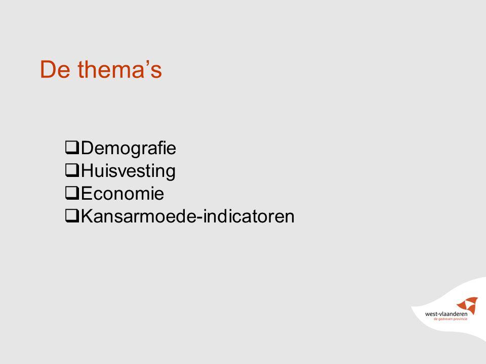 9 De thema's  Demografie  Huisvesting  Economie  Kansarmoede-indicatoren