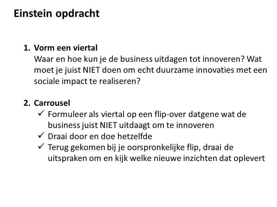 Einstein opdracht 1.Vorm een viertal Waar en hoe kun je de business uitdagen tot innoveren? Wat moet je juist NIET doen om echt duurzame innovaties me