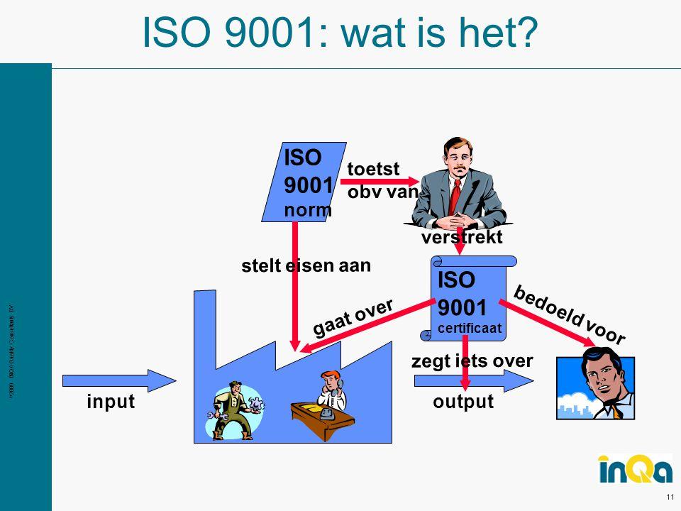© 2009 INQA Quality Consultants BV 11 ISO 9001: wat is het.