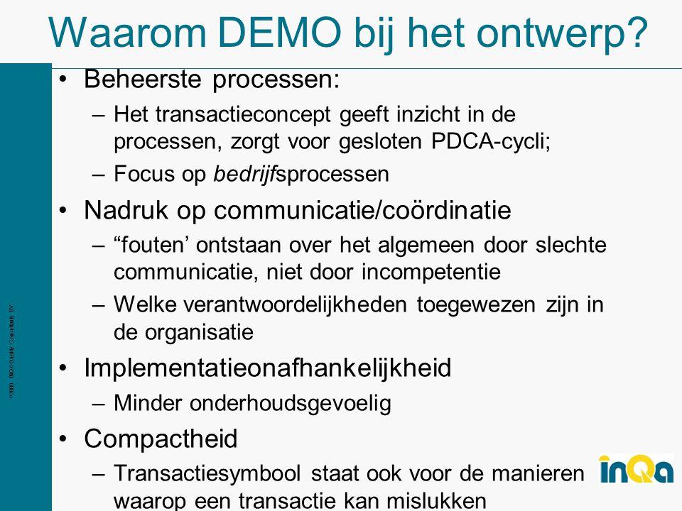© 2009 INQA Quality Consultants BV Waarom DEMO bij het ontwerp.