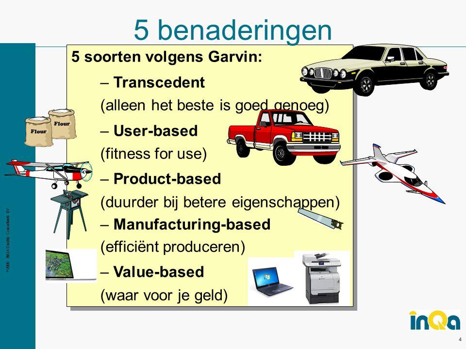 © 2009 INQA Quality Consultants BV 4 5 soorten volgens Garvin: – Transcedent (alleen het beste is goed genoeg) – User-based (fitness for use) – Product-based (duurder bij betere eigenschappen) – Manufacturing-based (efficiënt produceren) – Value-based (waar voor je geld) 5 soorten volgens Garvin: – Transcedent (alleen het beste is goed genoeg) – User-based (fitness for use) – Product-based (duurder bij betere eigenschappen) – Manufacturing-based (efficiënt produceren) – Value-based (waar voor je geld) 5 benaderingen