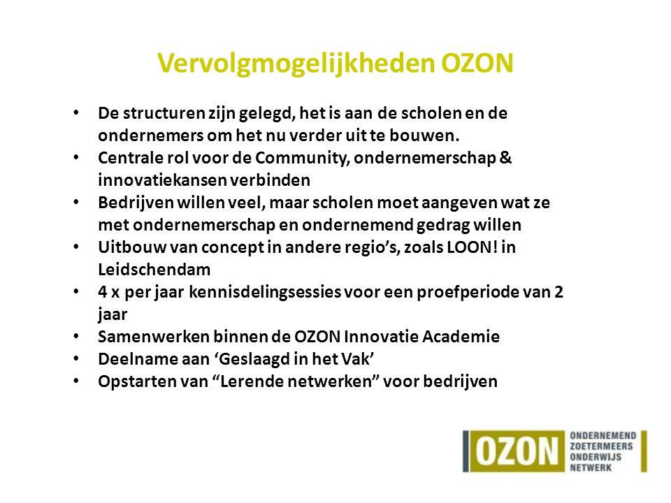Vervolgmogelijkheden OZON De structuren zijn gelegd, het is aan de scholen en de ondernemers om het nu verder uit te bouwen.