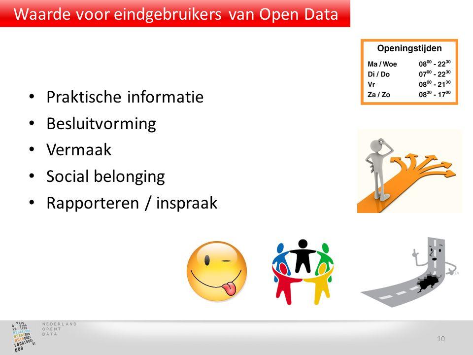 Praktische informatie Besluitvorming Vermaak Social belonging Rapporteren / inspraak 10 Waarde voor eindgebruikers van Open Data