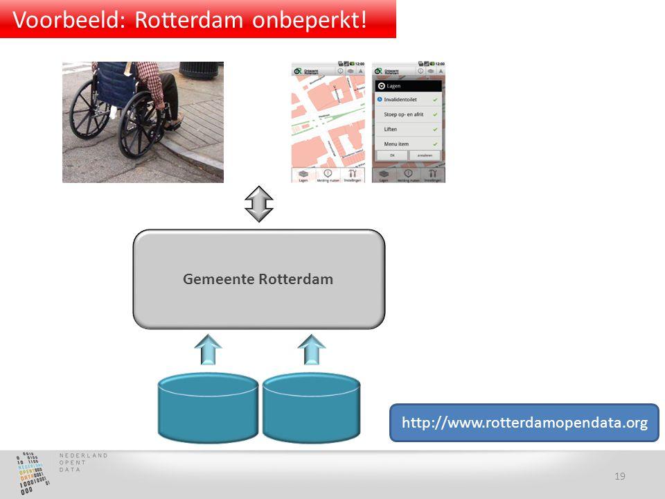 Gemeente Rotterdam http://www.rotterdamopendata.org 19 Voorbeeld: Rotterdam onbeperkt!