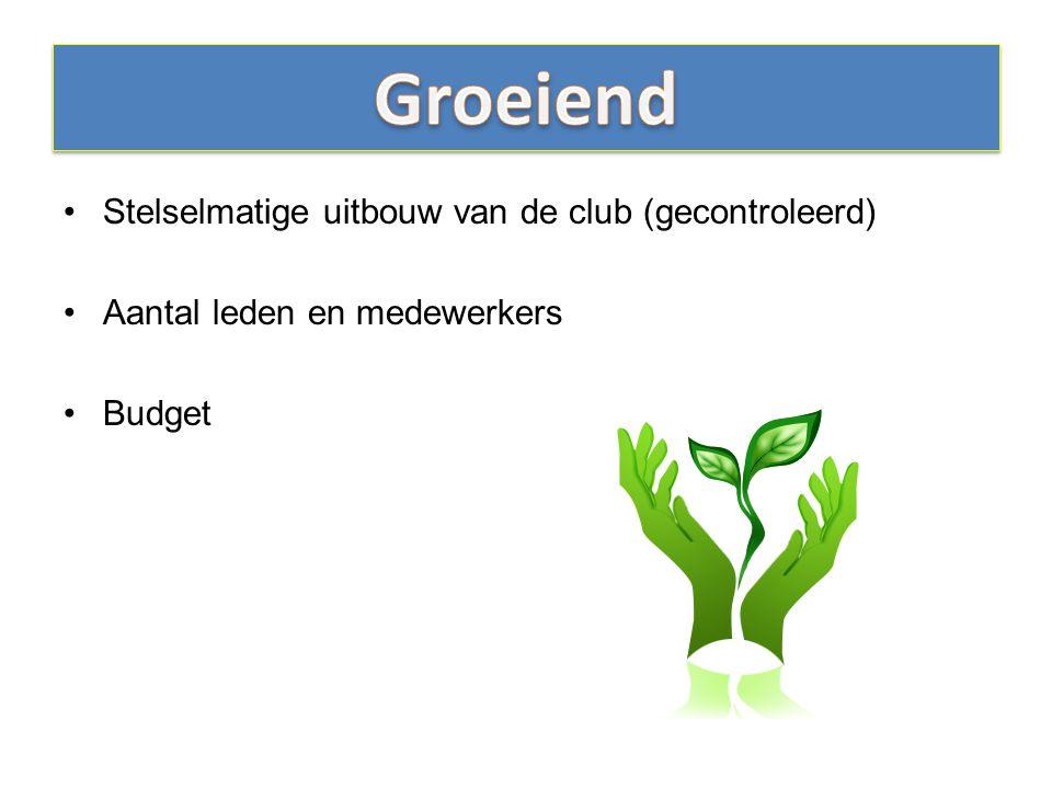 Stelselmatige uitbouw van de club (gecontroleerd) Aantal leden en medewerkers Budget