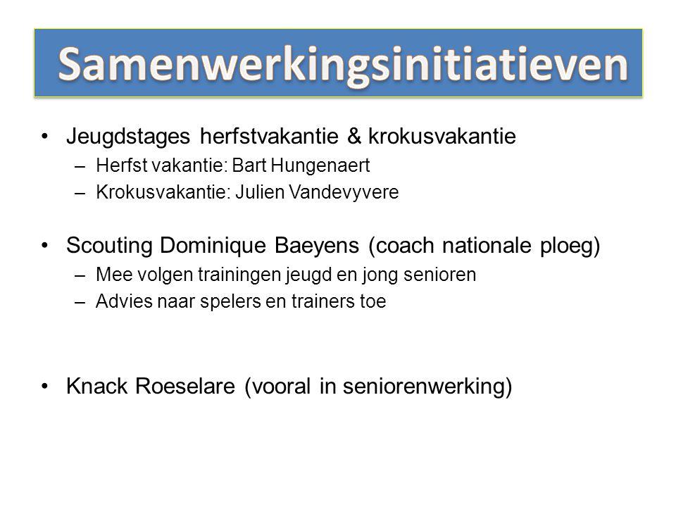 Jeugdstages herfstvakantie & krokusvakantie –Herfst vakantie: Bart Hungenaert –Krokusvakantie: Julien Vandevyvere Scouting Dominique Baeyens (coach na