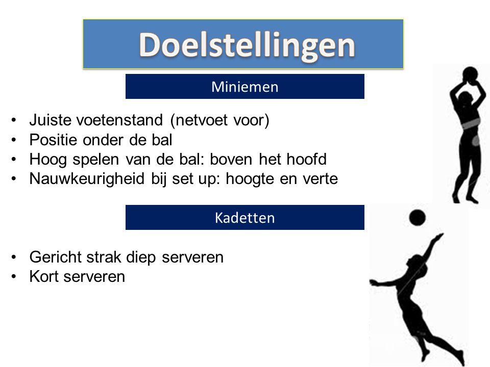 Juiste voetenstand (netvoet voor) Positie onder de bal Hoog spelen van de bal: boven het hoofd Nauwkeurigheid bij set up: hoogte en verte Gericht stra