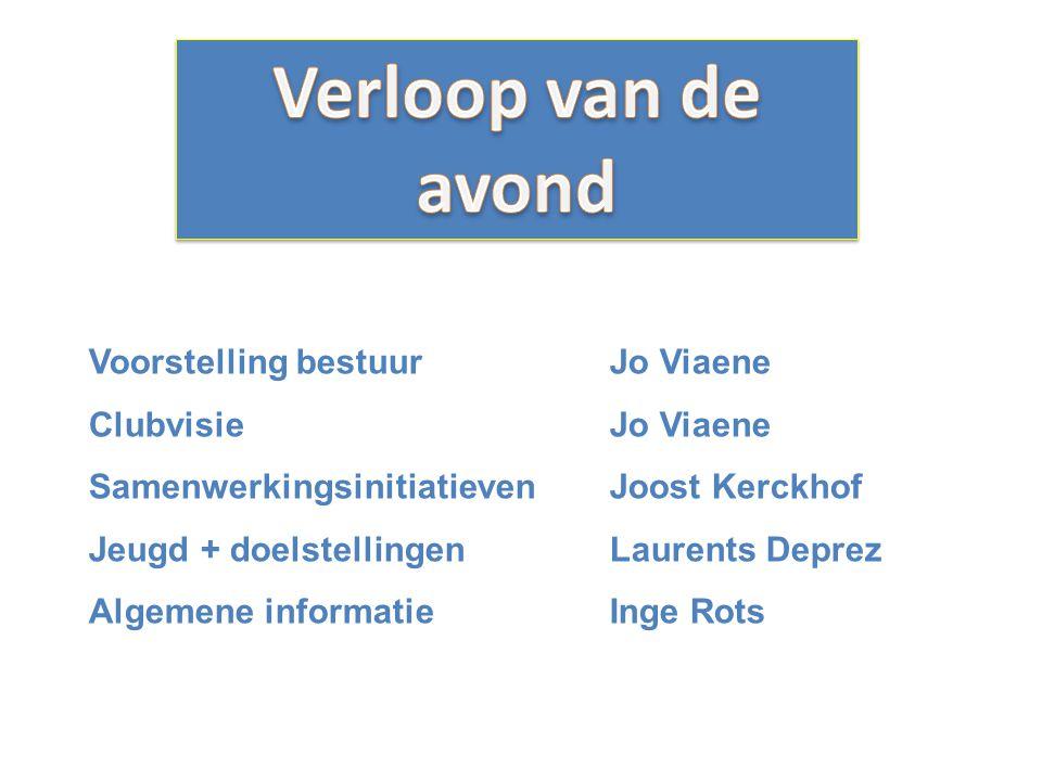 Voorstelling bestuurJo Viaene ClubvisieJo Viaene SamenwerkingsinitiatievenJoost Kerckhof Jeugd + doelstellingenLaurents Deprez Algemene informatieInge Rots