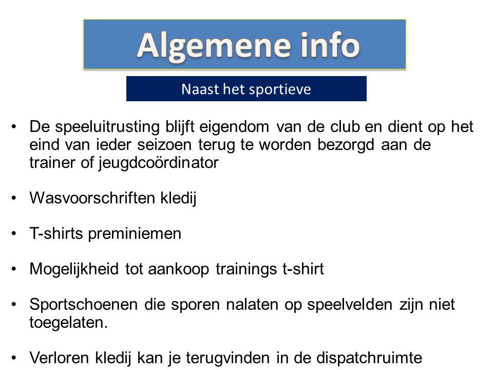 De speeluitrusting blijft eigendom van de club en dient op het eind van ieder seizoen terug te worden bezorgd aan de trainer of jeugdcoördinator Wasvo