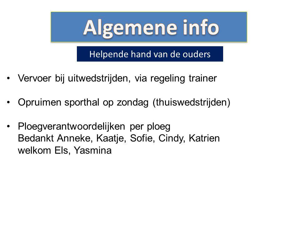 Vervoer bij uitwedstrijden, via regeling trainer Opruimen sporthal op zondag (thuiswedstrijden) Ploegverantwoordelijken per ploeg Bedankt Anneke, Kaat