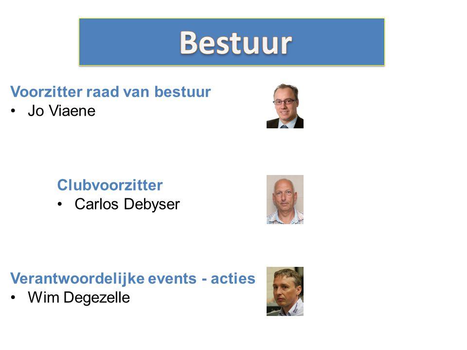 Voorzitter raad van bestuur Jo Viaene Clubvoorzitter Carlos Debyser Verantwoordelijke events - acties Wim Degezelle