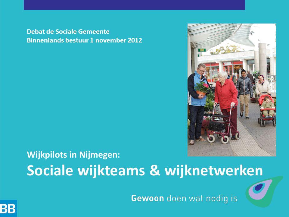 Debat de Sociale Gemeente Binnenlands bestuur 1 november 2012 Wijkpilots in Nijmegen: Sociale wijkteams & wijknetwerken