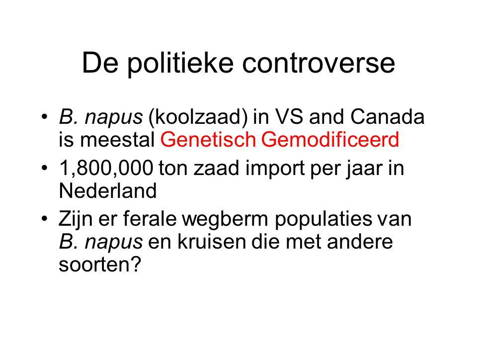De politieke controverse B. napus (koolzaad) in VS and Canada is meestal Genetisch Gemodificeerd 1,800,000 ton zaad import per jaar in Nederland Zijn