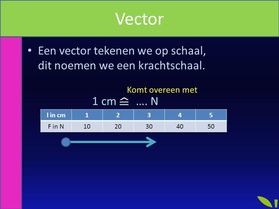 Een vector tekenen we op schaal, dit noemen we een krachtschaal. 1 cm …. N Komt overeen met Vector l in cm12345 F in N1020304050