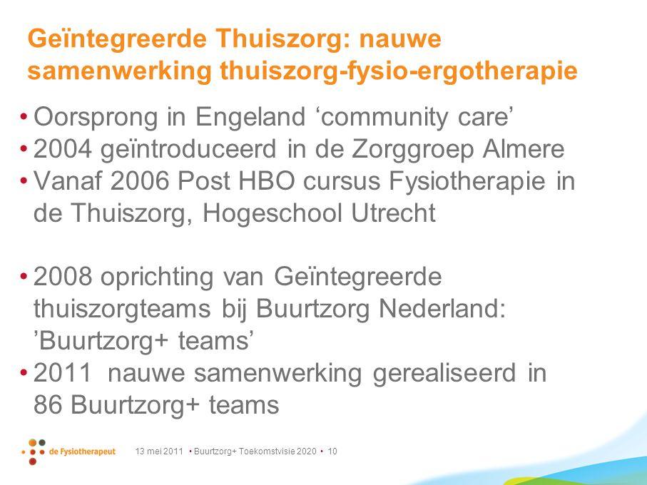 13 mei 2011 Buurtzorg+ Toekomstvisie 2020 10 Geïntegreerde Thuiszorg: nauwe samenwerking thuiszorg-fysio-ergotherapie Oorsprong in Engeland 'community