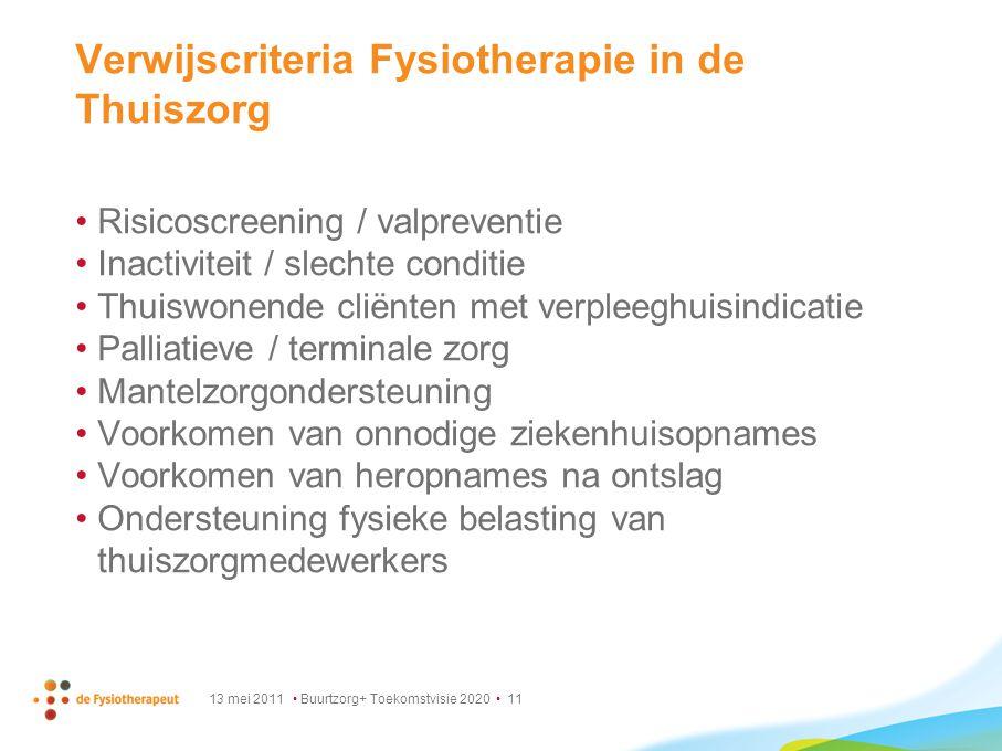 13 mei 2011 Buurtzorg+ Toekomstvisie 2020 11 Verwijscriteria Fysiotherapie in de Thuiszorg Risicoscreening / valpreventie Inactiviteit / slechte condi
