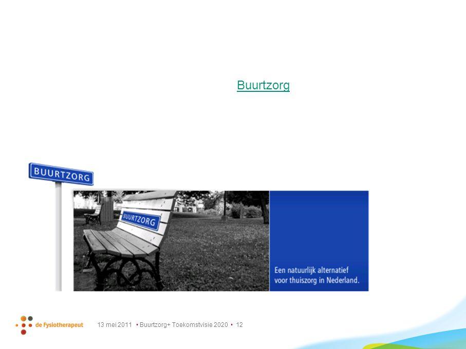13 mei 2011 Buurtzorg+ Toekomstvisie 2020 12 Buurtzorg