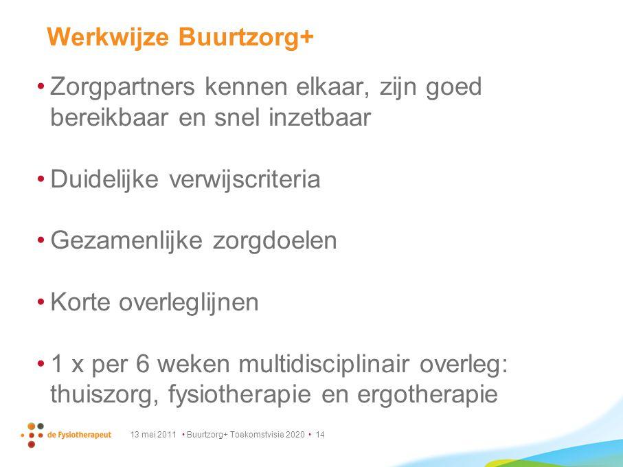 13 mei 2011 Buurtzorg+ Toekomstvisie 2020 14 Werkwijze Buurtzorg+ Zorgpartners kennen elkaar, zijn goed bereikbaar en snel inzetbaar Duidelijke verwij