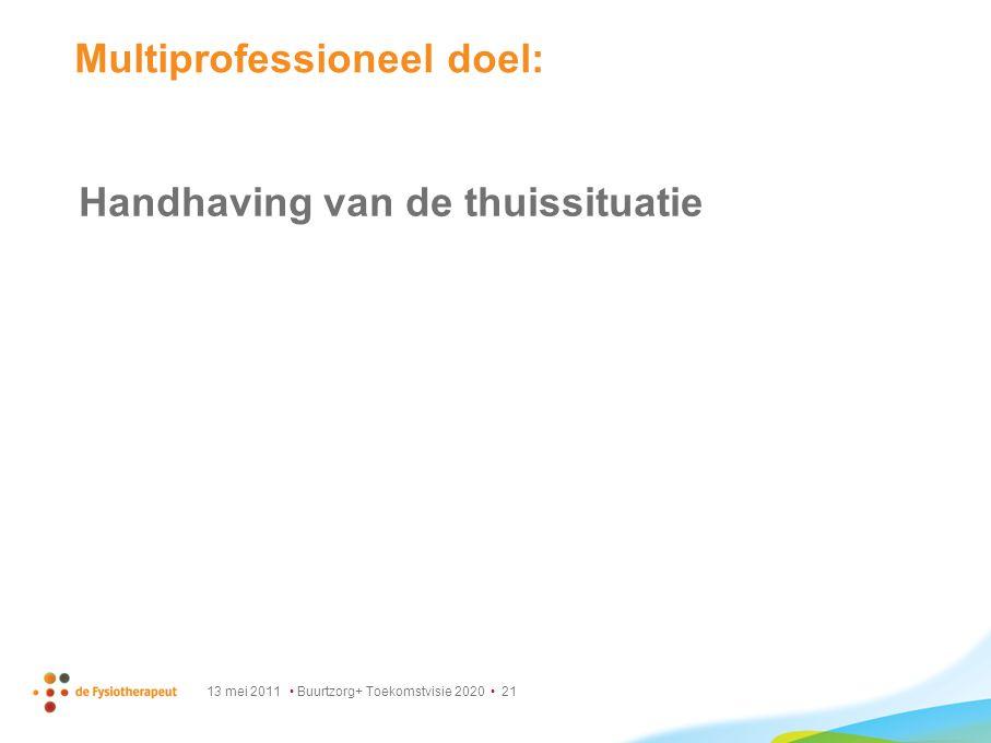 13 mei 2011 Buurtzorg+ Toekomstvisie 2020 21 Multiprofessioneel doel: Handhaving van de thuissituatie