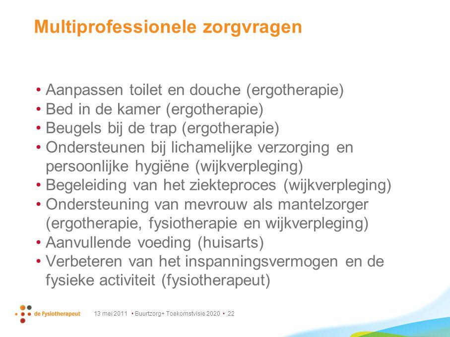 13 mei 2011 Buurtzorg+ Toekomstvisie 2020 22 Multiprofessionele zorgvragen Aanpassen toilet en douche (ergotherapie) Bed in de kamer (ergotherapie) Be
