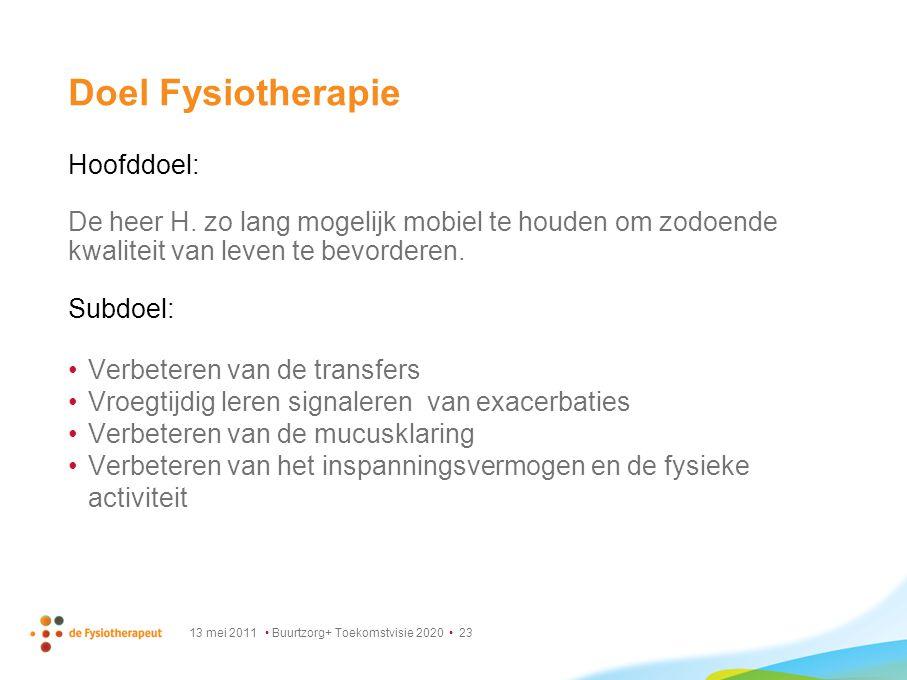 13 mei 2011 Buurtzorg+ Toekomstvisie 2020 23 Doel Fysiotherapie Hoofddoel: De heer H. zo lang mogelijk mobiel te houden om zodoende kwaliteit van leve