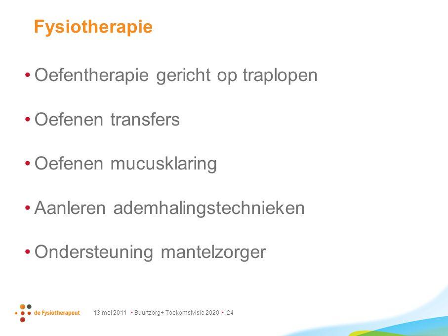 13 mei 2011 Buurtzorg+ Toekomstvisie 2020 24 Fysiotherapie Oefentherapie gericht op traplopen Oefenen transfers Oefenen mucusklaring Aanleren ademhali