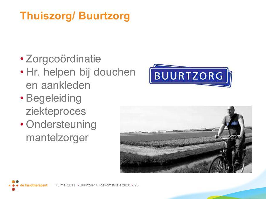 13 mei 2011 Buurtzorg+ Toekomstvisie 2020 25 Thuiszorg/ Buurtzorg Zorgcoördinatie Hr. helpen bij douchen en aankleden Begeleiding ziekteproces Onderst