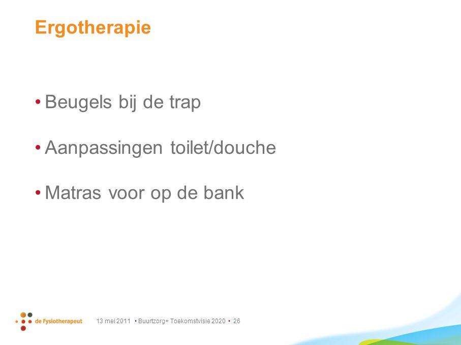 13 mei 2011 Buurtzorg+ Toekomstvisie 2020 26 Ergotherapie Beugels bij de trap Aanpassingen toilet/douche Matras voor op de bank
