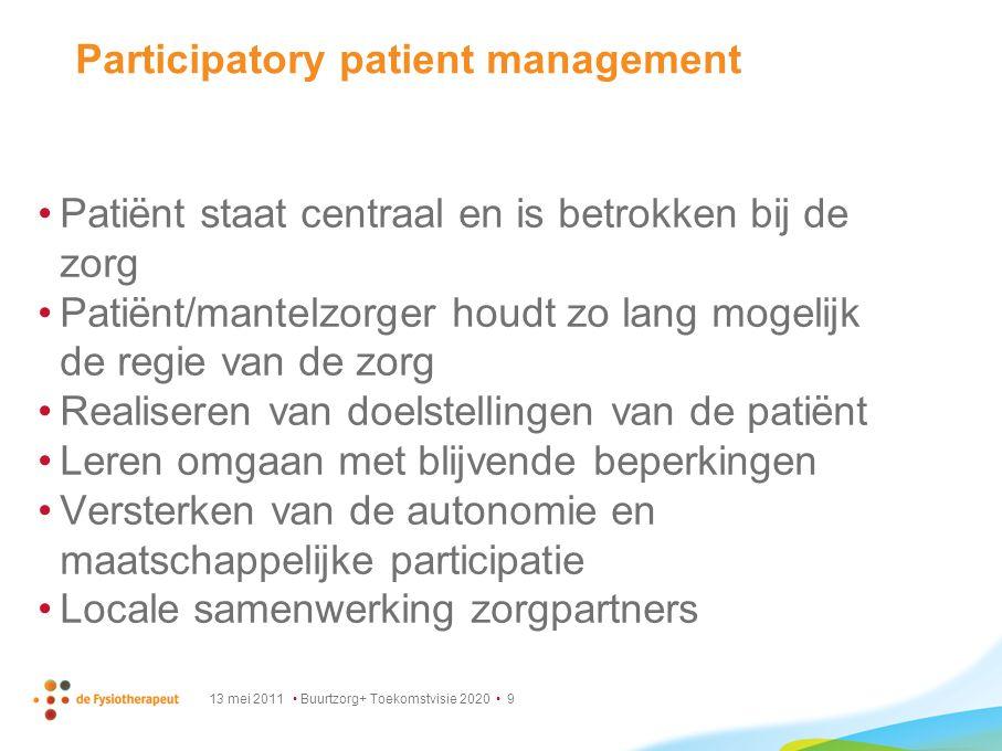 13 mei 2011 Buurtzorg+ Toekomstvisie 2020 9 Participatory patient management Patiënt staat centraal en is betrokken bij de zorg Patiënt/mantelzorger h