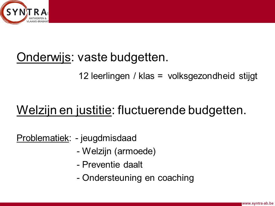 www.syntra-ab.be Onderwijs: vaste budgetten. 12 leerlingen / klas = volksgezondheid stijgt Welzijn en justitie: fluctuerende budgetten. Problematiek: