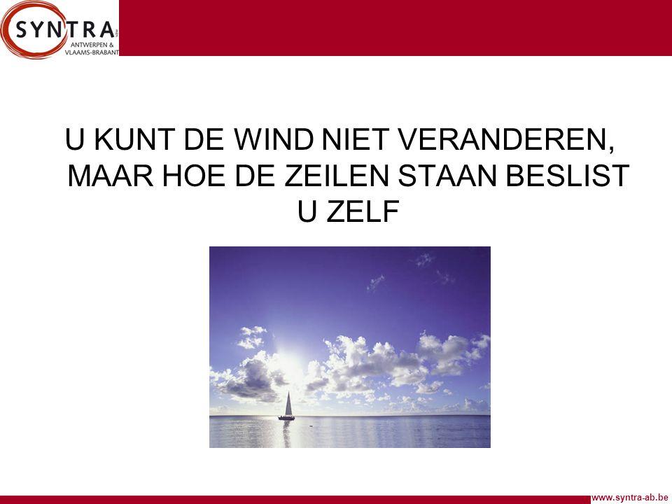www.syntra-ab.be U KUNT DE WIND NIET VERANDEREN, MAAR HOE DE ZEILEN STAAN BESLIST U ZELF