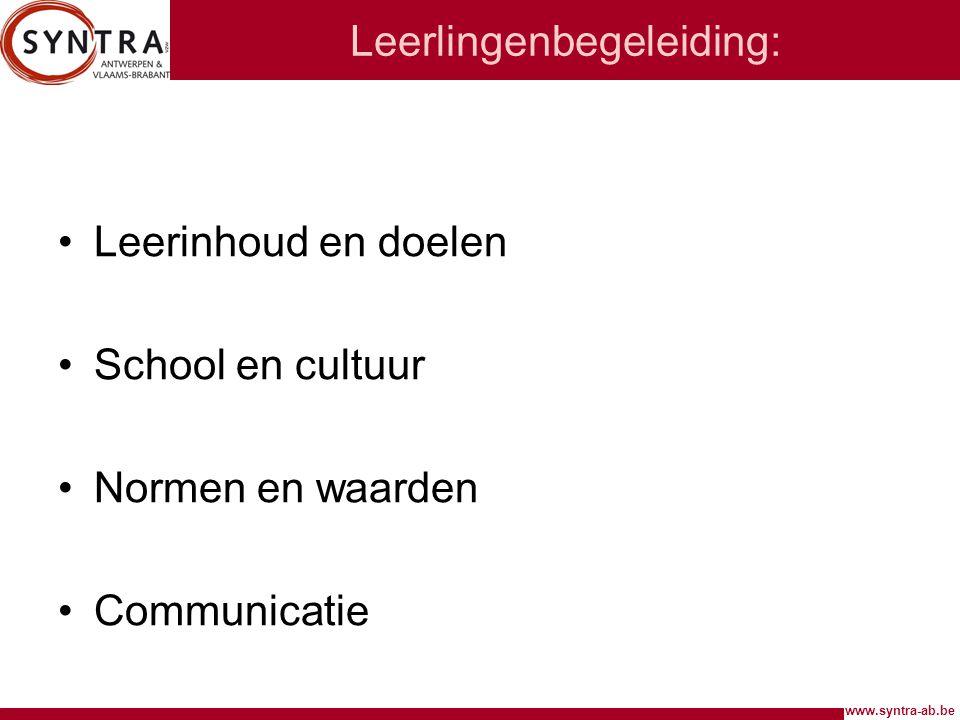 www.syntra-ab.be Leerlingenbegeleiding: Leerinhoud en doelen School en cultuur Normen en waarden Communicatie