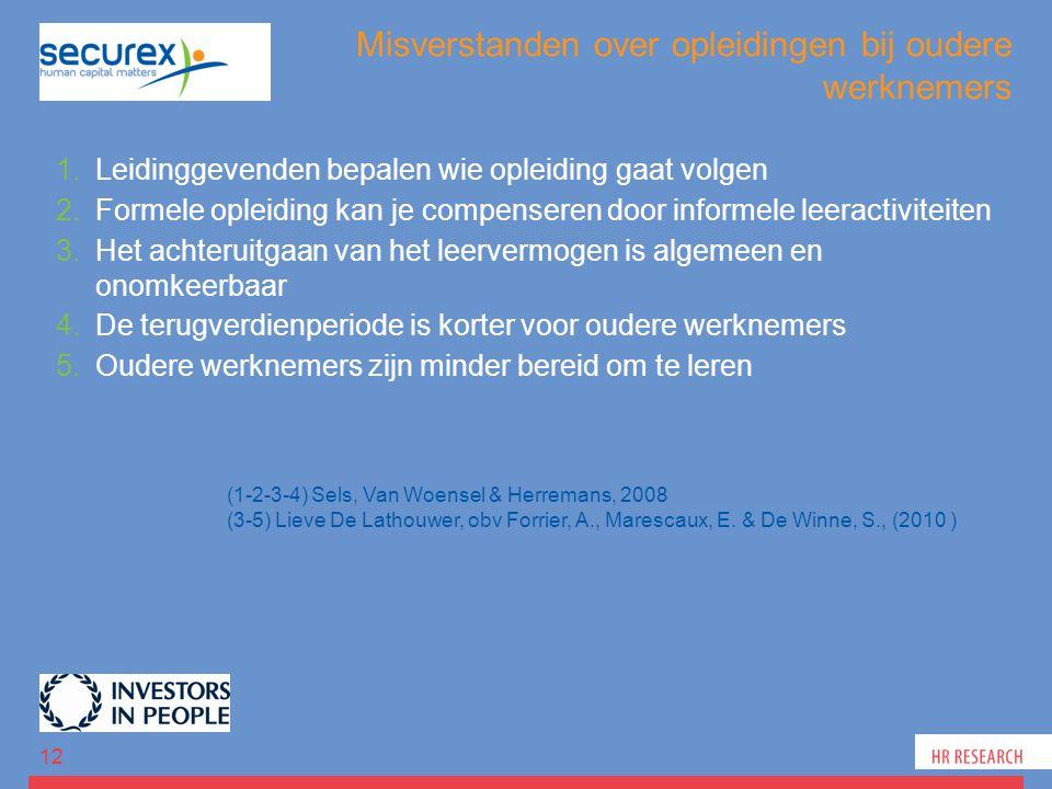Misverstanden over opleidingen bij oudere werknemers 1.Leidinggevenden bepalen wie opleiding gaat volgen 2.Formele opleiding kan je compenseren door informele leeractiviteiten 3.Het achteruitgaan van het leervermogen is algemeen en onomkeerbaar 4.De terugverdienperiode is korter voor oudere werknemers 5.Oudere werknemers zijn minder bereid om te leren 12 (1-2-3-4) Sels, Van Woensel & Herremans, 2008 (3-5) Lieve De Lathouwer, obv Forrier, A., Marescaux, E.