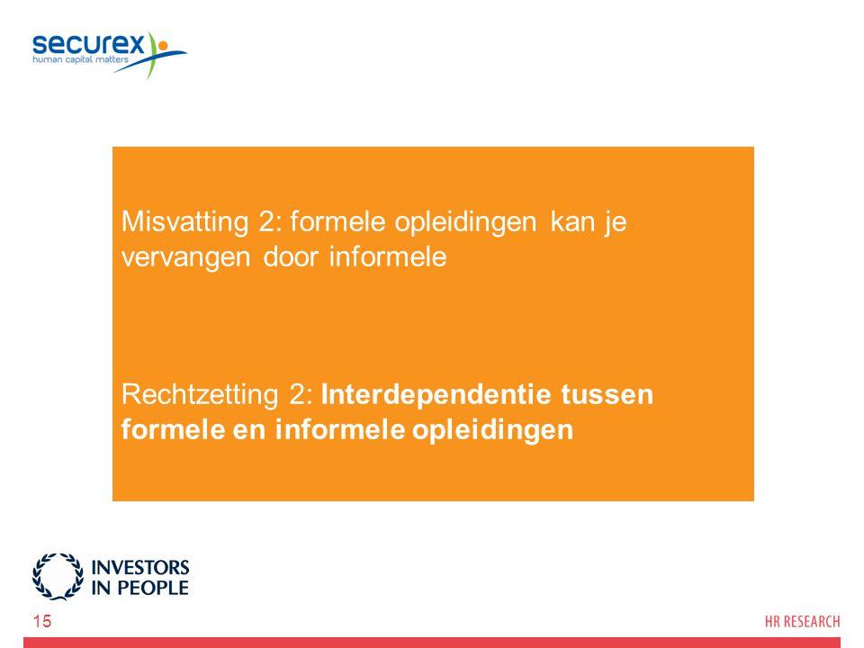 Misvatting 2: formele opleidingen kan je vervangen door informele Rechtzetting 2: Interdependentie tussen formele en informele opleidingen 15