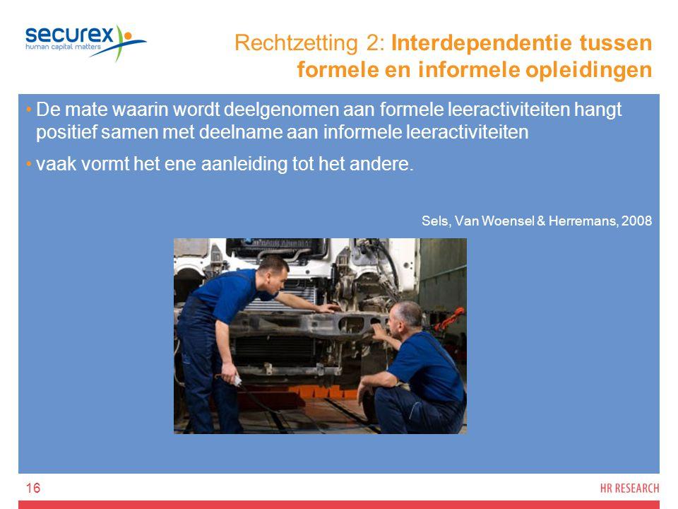 Rechtzetting 2: Interdependentie tussen formele en informele opleidingen De mate waarin wordt deelgenomen aan formele leeractiviteiten hangt positief