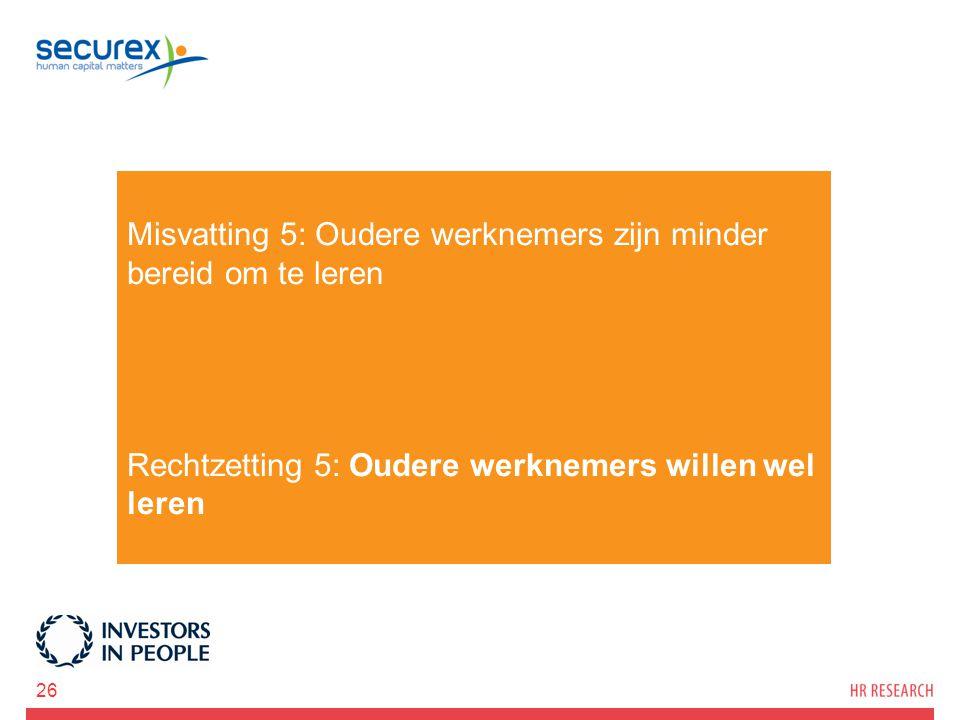 Misvatting 5: Oudere werknemers zijn minder bereid om te leren Rechtzetting 5: Oudere werknemers willen wel leren 26