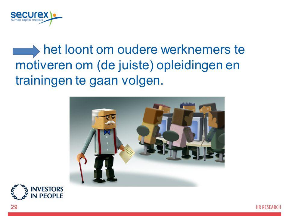 het loont om oudere werknemers te motiveren om (de juiste) opleidingen en trainingen te gaan volgen. 29