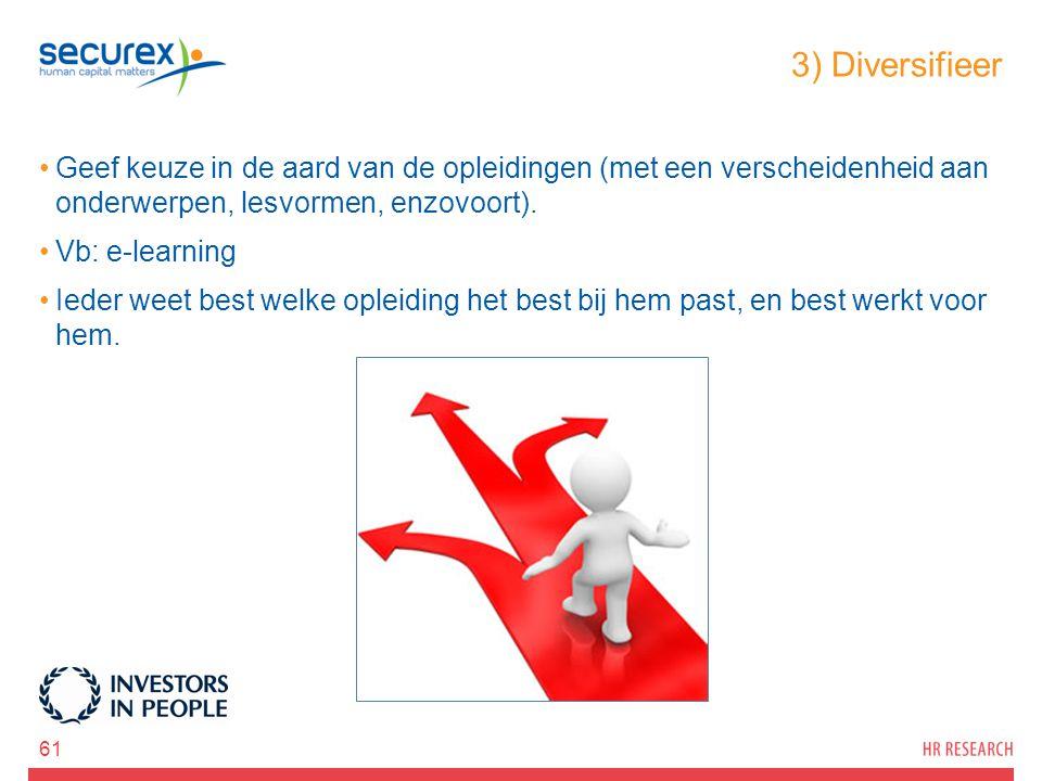 3) Diversifieer Geef keuze in de aard van de opleidingen (met een verscheidenheid aan onderwerpen, lesvormen, enzovoort). Vb: e-learning Ieder weet be