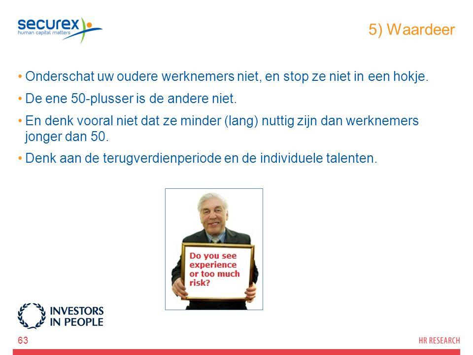 5) Waardeer Onderschat uw oudere werknemers niet, en stop ze niet in een hokje. De ene 50-plusser is de andere niet. En denk vooral niet dat ze minder