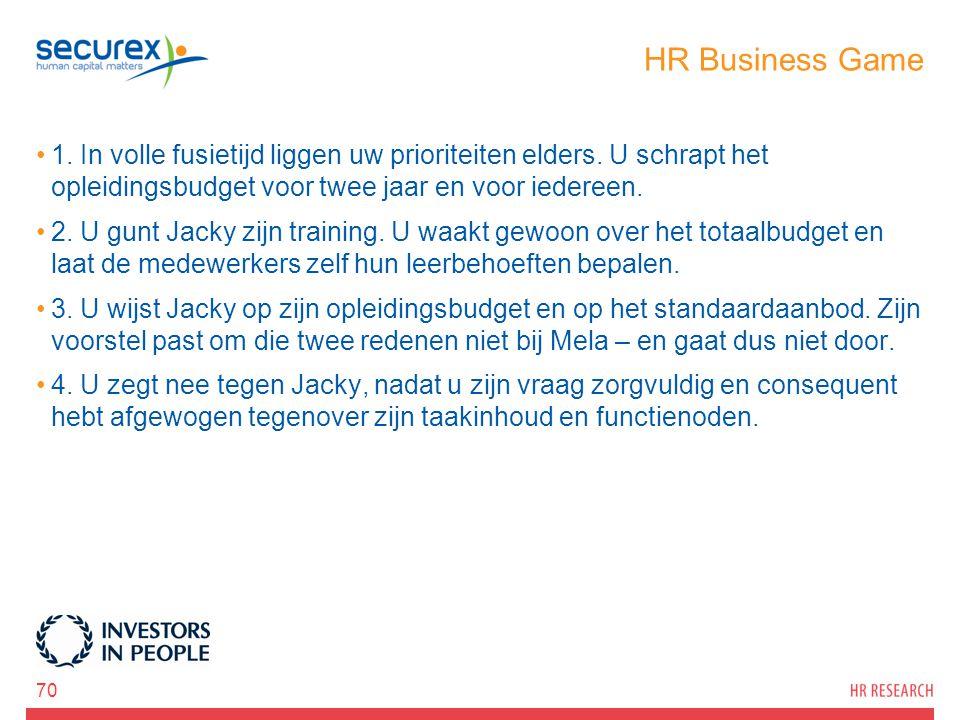 HR Business Game 1. In volle fusietijd liggen uw prioriteiten elders. U schrapt het opleidingsbudget voor twee jaar en voor iedereen. 2. U gunt Jacky