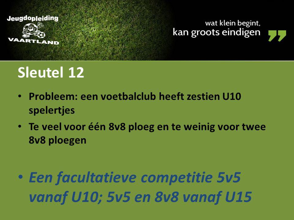 Sleutel 12 Probleem: een voetbalclub heeft zestien U10 spelertjes Te veel voor één 8v8 ploeg en te weinig voor twee 8v8 ploegen Een facultatieve compe