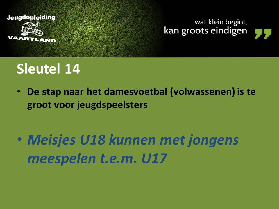 Sleutel 14 De stap naar het damesvoetbal (volwassenen) is te groot voor jeugdspeelsters Meisjes U18 kunnen met jongens meespelen t.e.m. U17