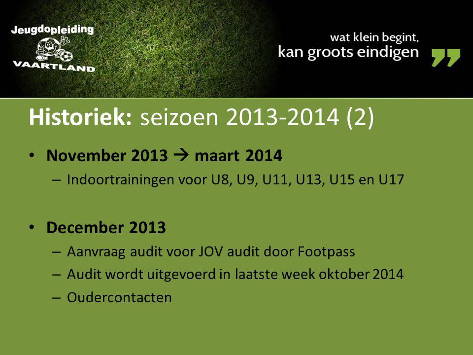 Historiek: seizoen 2013-2014 (2) November 2013  maart 2014 – Indoortrainingen voor U8, U9, U11, U13, U15 en U17 December 2013 – Aanvraag audit voor J